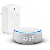 Echo Dot (3rd Gen) with clock - Smart speaker with Alexa (White)